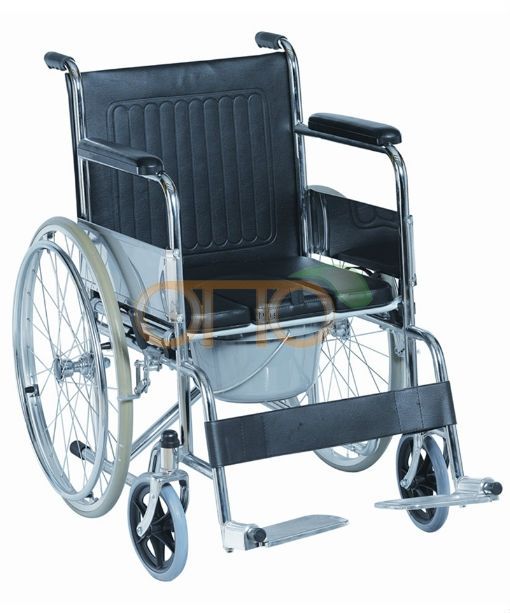 Folding commode wheelchair